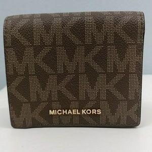 Michael Kors brown and beige wallet